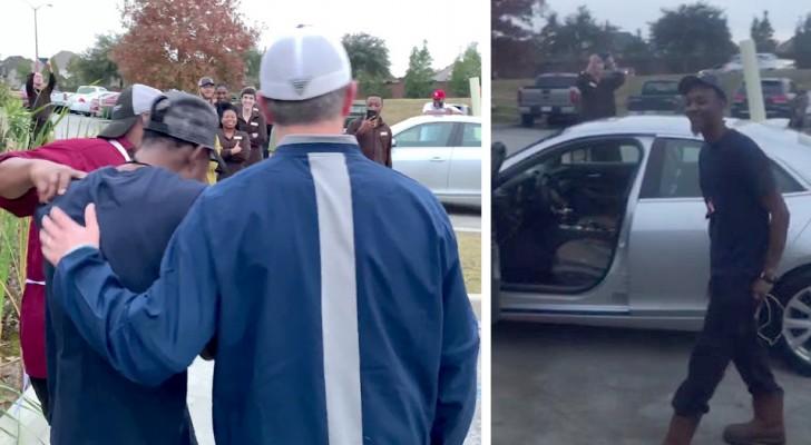De stjäl bilen som han köpt med sina besparingar, men hans kollegor samlar in pengar och köper en ny bil
