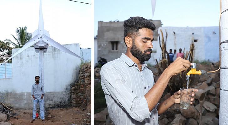 Ein Junge erfindet eine Windturbine, die Strom und Trinkwasser für bedürftige Menschen produziert