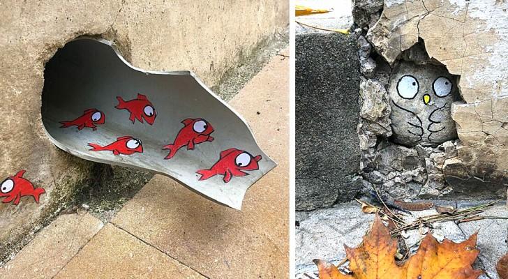 Dieser Künstler vandalisiert die Stadt mit höchst originellen Werken, die mit dem städtischen Raum interagieren