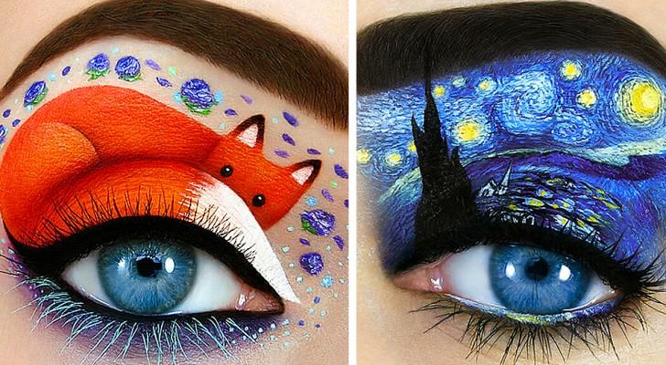Questa ragazza dipinge scene magiche e fiabesche intorno agli occhi: i suoi trucchi sono vere opere d'arte