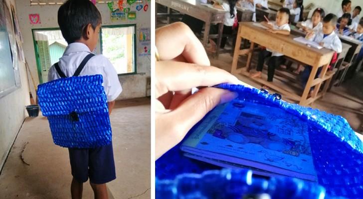 Un niño muy pobre pierde la mochila con la que iba a la escuela: el papá pasa toda la noche cosiendo una