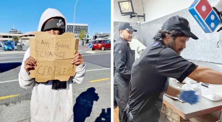 Un uomo decide di assumere il senzatetto che ogni giorno chiedeva l'elemosina davanti alla sua pizzeria