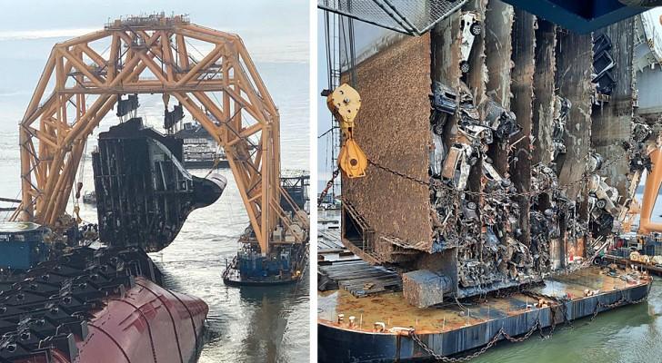 Een omgevallen vrachtschip wordt