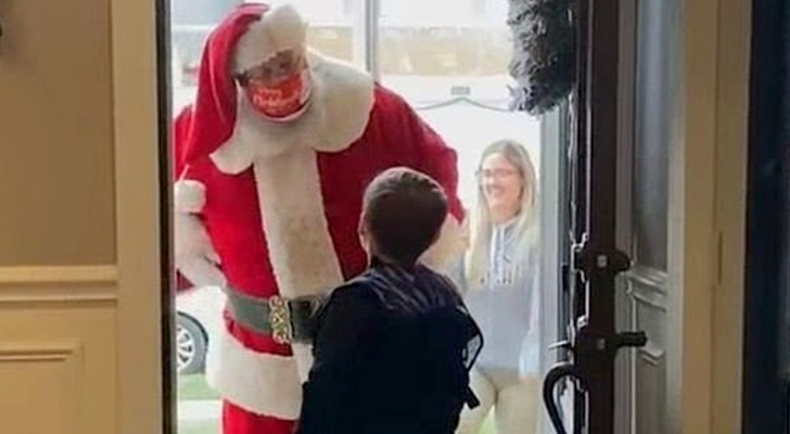 He asks Santa for a toy gun but Santa tells him no: Mom is not amused