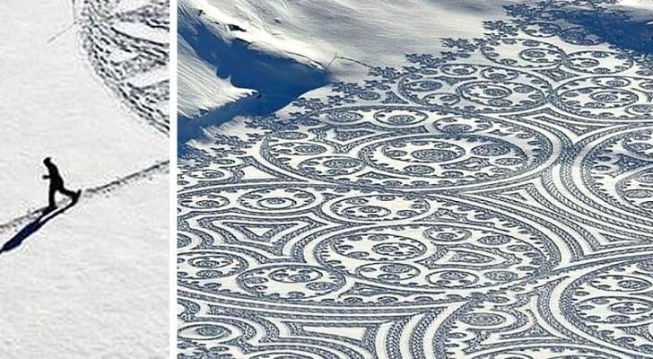 Quest'uomo cammina nella neve e crea giganteschi disegni che incantano per la loro effimera bellezza