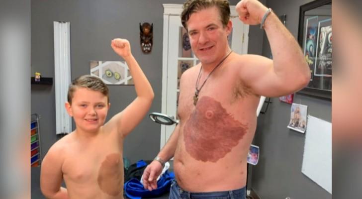 Ce père s'est fait tatouer la même tâche de naissance que son fils de 8 ans pour qu'il se sente plus sûr de lui