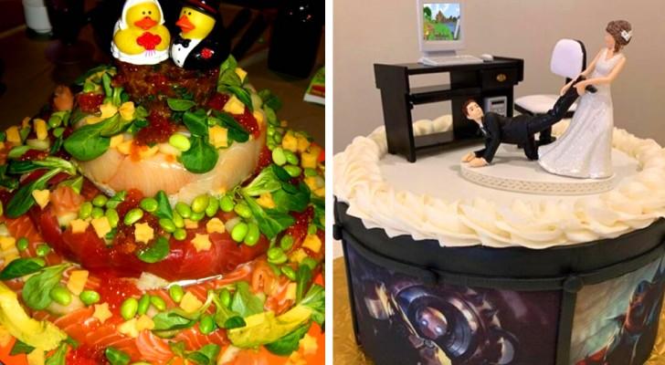 16 torte nuziali fuori dal comune che gli sposi hanno scelto contro ogni aspettativa