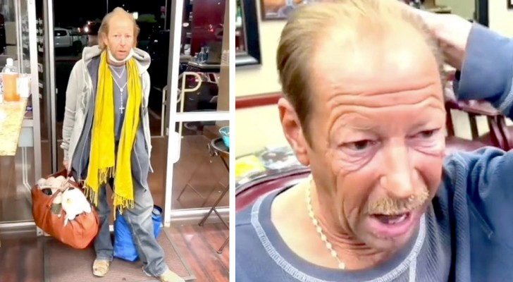 A homeless man walks into a hairdresser's shop and gets an amazing haircut for free