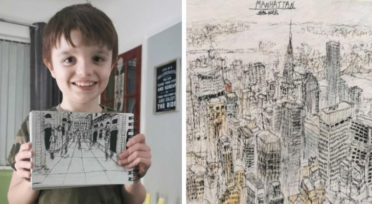 Questo bambino autistico riesce a disegnare dettagliati ritratti di città pur avendole viste una sola volta