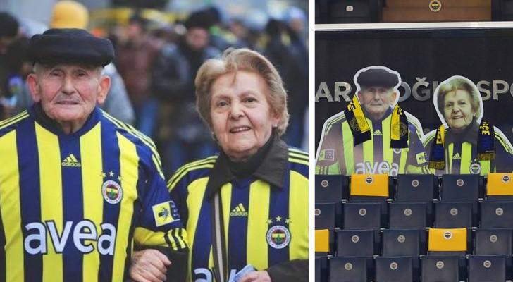 Un equipo de fútbol rinde homenaje a la pareja de aficionados ancianos que nunca faltaron a un encuentro en el estadio