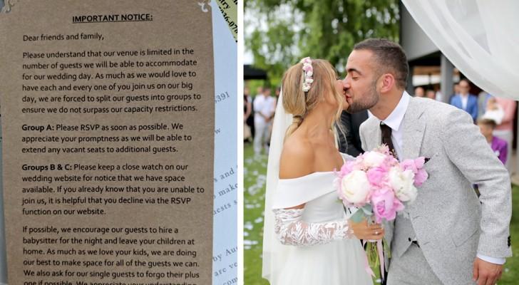 Een bruidspaar verdeelt de gasten in drie groepen volgens de mate van belangrijkheid: vrienden en familieleden worden woedend