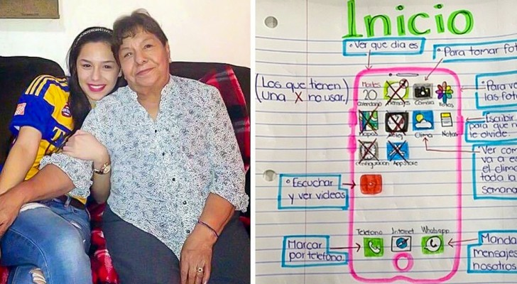 Oma en kleindochter zijn ver van elkaar verwijderd: het meisje maakt een geïllustreerde gids om haar te leren videogesprekken te voeren