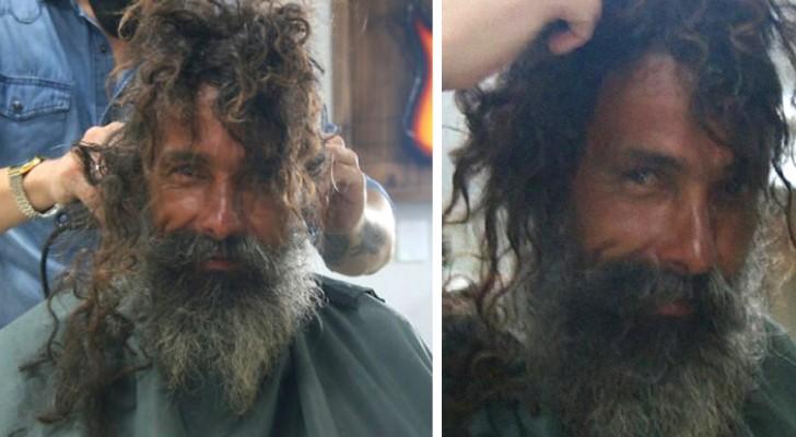 Le barbier offre à un sans-abri un incroyable relooking : les photos l'aident à retrouver sa famille
