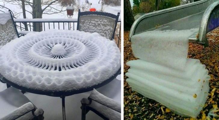 18 keer dat sneeuw zulke ongelooflijke kunstwerken heeft gemaakt dat mensen wilden stoppen om ze te fotograferen
