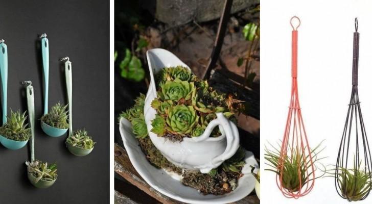 10 jardinières et terrariums DIY sympas faits à partir d'ustensiles de cuisine