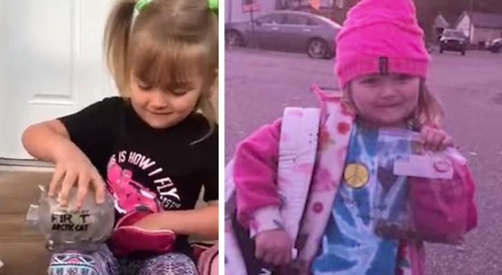 Um menina de 5 anos esvazia o seu cofrinho para ajudar um colega de escola em dificuldades financeiras