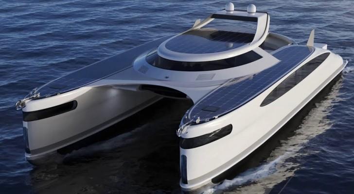 Een Italiaanse ontwerper presenteert een amfibische catamaran op zonne-energie: hij is superluxe en kan overal naartoe