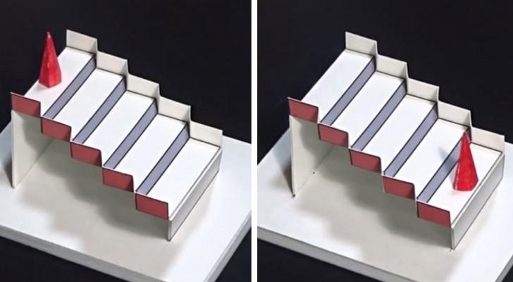 Deze trap werd verkozen tot beste optische illusie van 2020: ook al draai je hem om, hij is altijd naar rechts gericht
