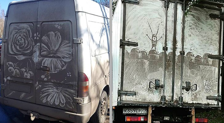 Questo artista vandalizza i camion più sporchi con disegni che fanno venir voglia di non lavarli