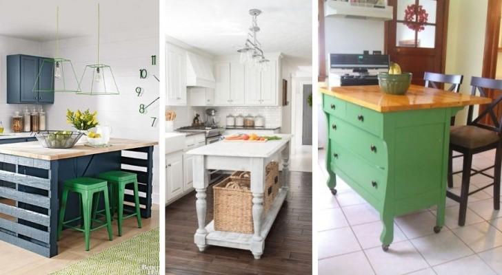 9 inspirations charmantes pour réaliser des îles dans la cuisine avec de vieux meubles
