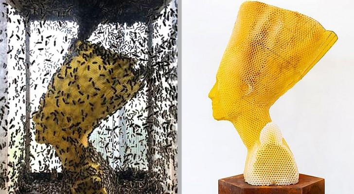 Ein Künstler hat diese Büste der Nofretete zusammen mit 60.000 Bienen geschaffen: ein originelles Werk, das zum Nachdenken anregt