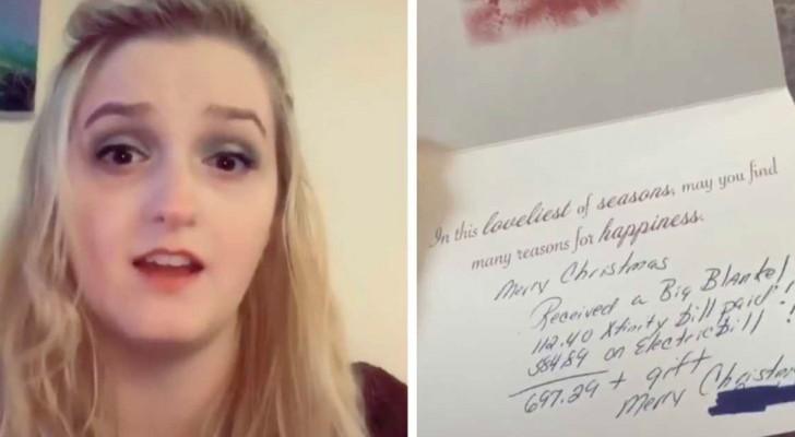 Recebem um cartão de Natal da sogra, mas ao invés de desejar feliz natal, ela manda uma lista de quanto tinha gastado com eles