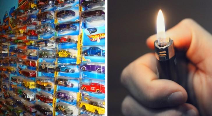 A esposa coloca fogo na coleção de carrinhos de brinquedo do marido porque ela a considerava um desperdício de dinheiro