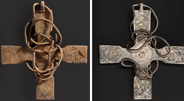 Ein angelsächsisches Kreuz wurde nach 1000 Jahren wiedergefunden: Die Reinigungsarbeiten haben kuriose Verzierungen zum Vorschein gebracht