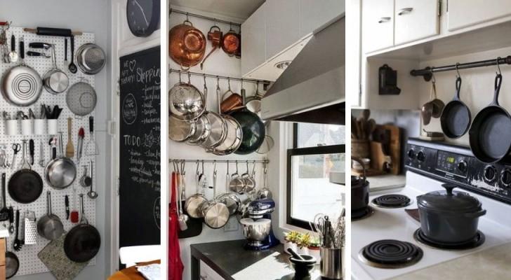 9 soluzioni pratiche ed efficienti per trovare posto a pentole e padelle in cucina