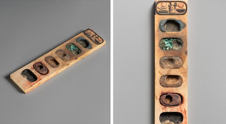 Questa tavolozza dell'Antico Egitto ha 3400 anni e ha mantenuto affascinanti resti di pigmenti di colore