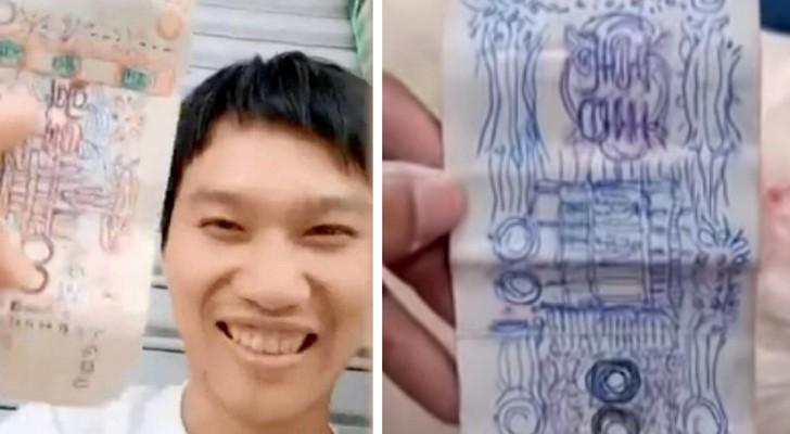 Um sem-teto paga com notas desenhadas por ele mesmo: um comerciante generoso decide aceitá-las
