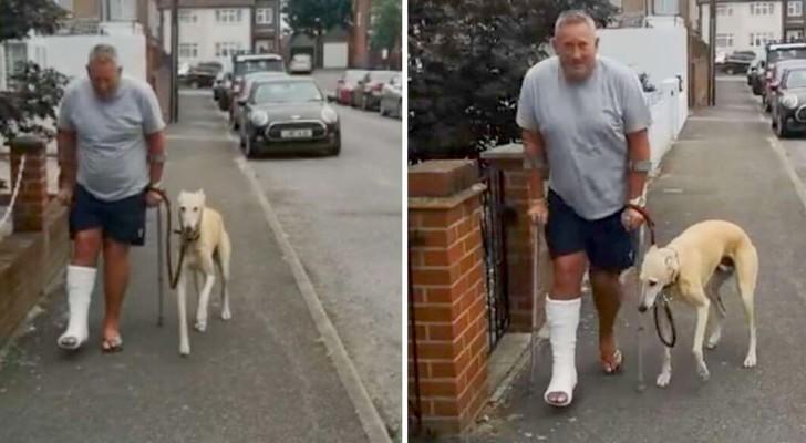 Un uomo con la gamba ingessata fa visitare il suo cane zoppicante, ma scopre che lo stava solo imitando