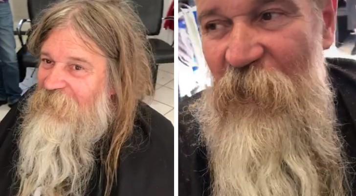 Um barbeiro dá uma nova cara a um morador de rua: depois do corte de cabelo ele ficou irreconhecível
