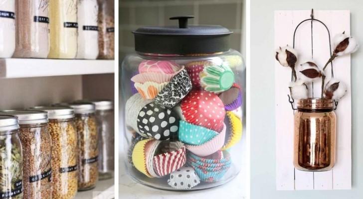 10 modi creativi per riciclare i barattoli di vetro e usarli come accessori e decorazioni in cucina