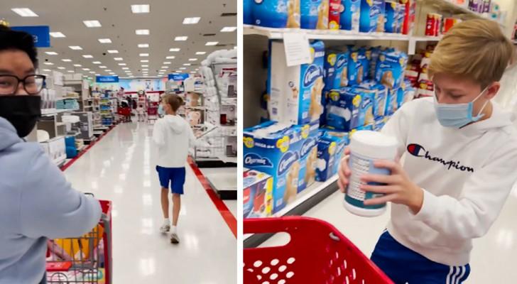 Dizem a um menino que ele tem 3 minutos para comprar o que quiser: ele só escolhe coisas para sua família