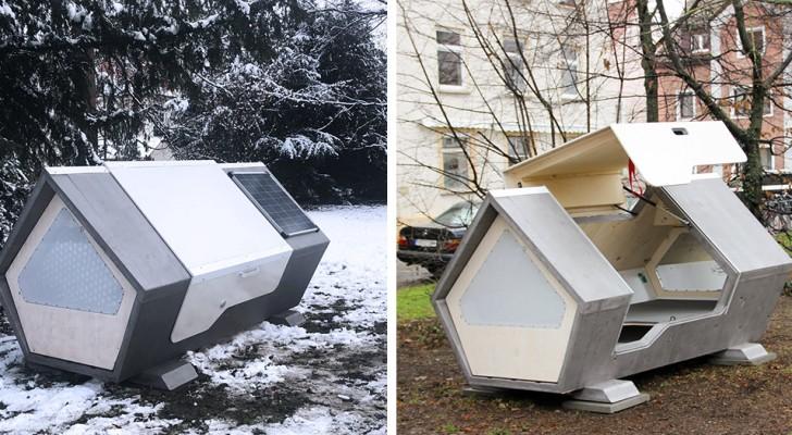 Futuristische Kapseln, die in einer deutschen Stadt installiert wurden, um Obdachlosen Schutz zu bieten