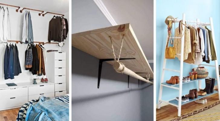 10 accattivanti proposte fai-da-te per allestire un pratico angolo guardaroba in casa