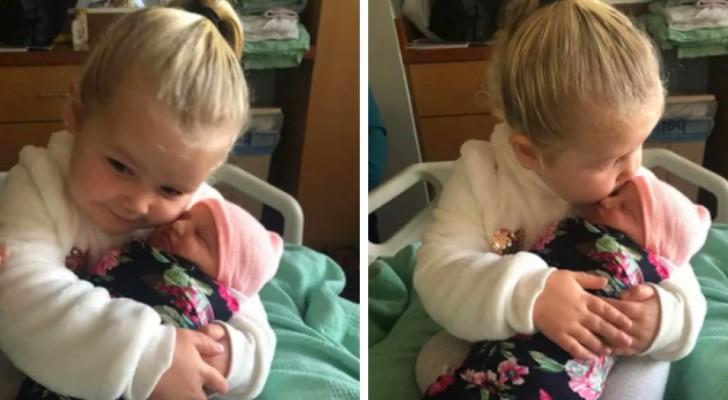 En 3 år gammal flicka möter sin nyfödda lillasyster och lovar att hon alltid kommer att skydda henne i en rörande video