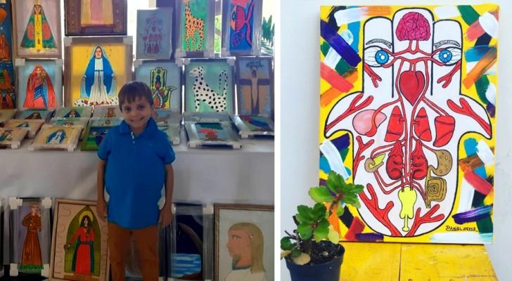 Bimbo povero vende i suoi quadri per pagarsi le cure mediche: soffre di una rara malattia