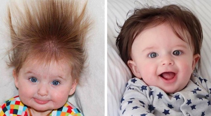 17 baby's van een paar maanden oud die al zo lang haar hebben dat het lijkt alsof ze een pruik dragen