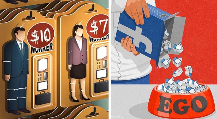 18 illustrations qui laissent une marque, idéale pour réfléchir aux problèmes et aux contradictions de notre société