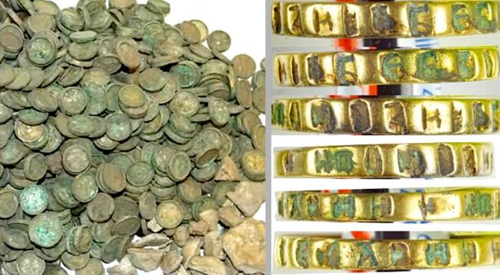 Er is een schat ontdekt met meer dan 6.500 middeleeuwse munten en een ring van een prinses: het bevond zich onder een tarweveld