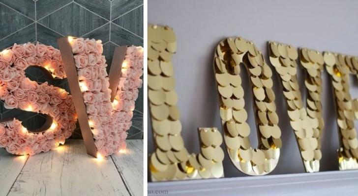 10 fantastici spunti per creare romantiche decorazioni di San Valentino a forma di lettere di cartone