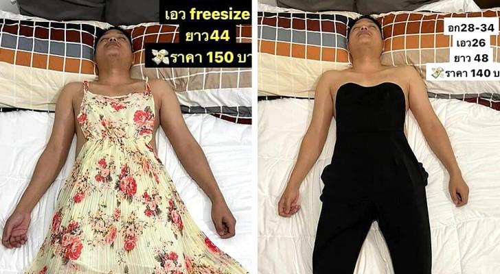 Il marito si addormenta e lei lo trasforma in modello facendogli indossare gli abiti che vende online