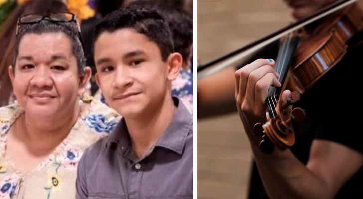 Un ragazzo di 14 anni suona il violino in videochiamata per la mamma ricoverata in ospedale