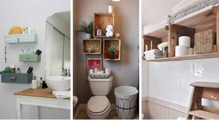 10 solutions brillantes pour installer des étagères pratiques dans la salle de bain avec le DIY et le recyclage créatif