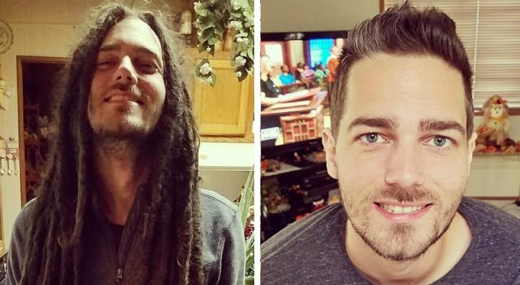 16 mannen hebben hun lange haar afgeknipt en tonen trots hun transformatie