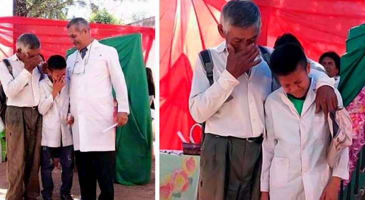 Every day he walks to school for nearly 4 miles with his grandfather: on graduation day he bursts into tears of joy