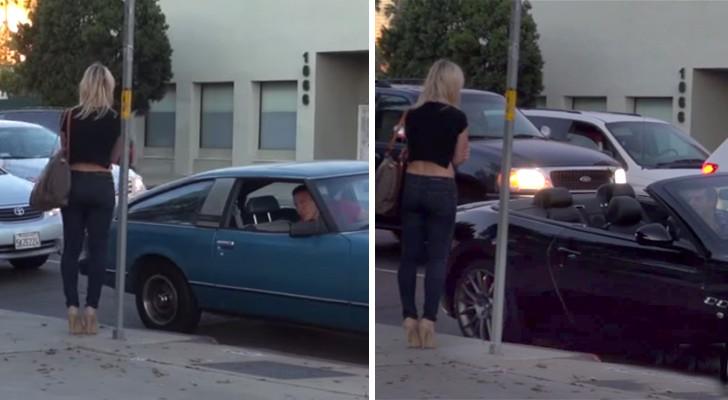 2 jongens in twee TOTAAL verschillende auto's benaderen een meisje: haar reactie is verbazingwekkend!