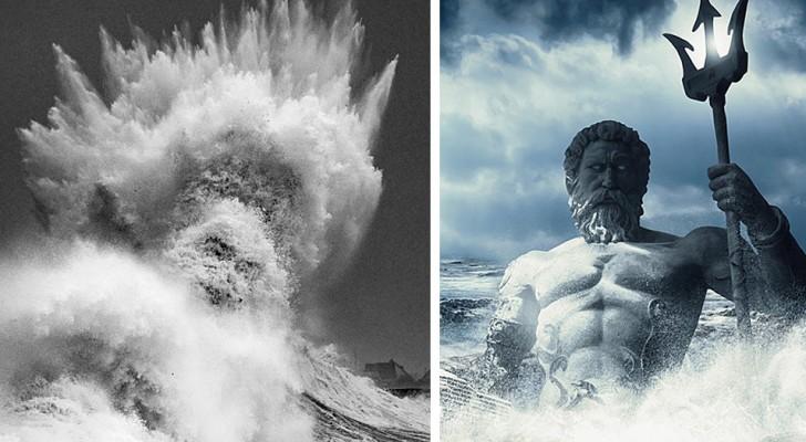 Einem Fotografen gelingt es, eine spektakuläre Welle einzufangen, in der das Gesicht des Gottes Neptun zu erscheinen scheint